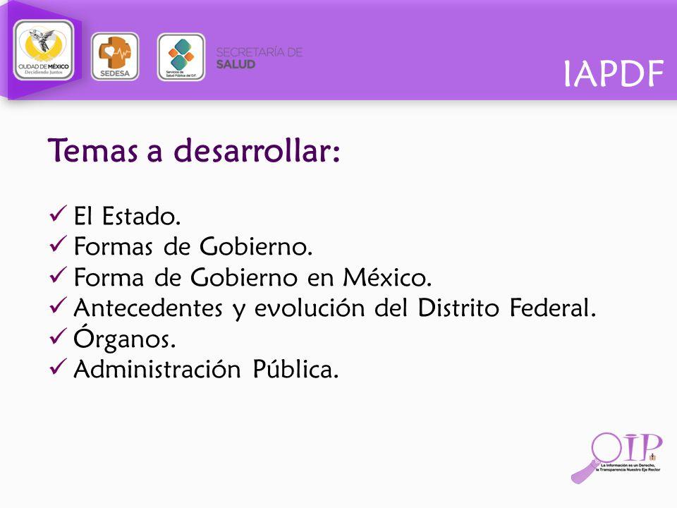IAPDF Temas a desarrollar: El Estado. Formas de Gobierno. Forma de Gobierno en México. Antecedentes y evolución del Distrito Federal. Órganos. Adminis