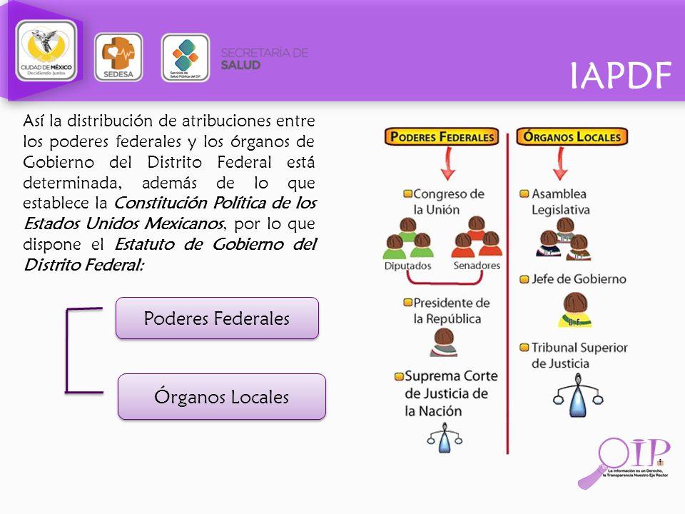 IAPDF Así la distribución de atribuciones entre los poderes federales y los órganos de Gobierno del Distrito Federal está determinada, además de lo qu