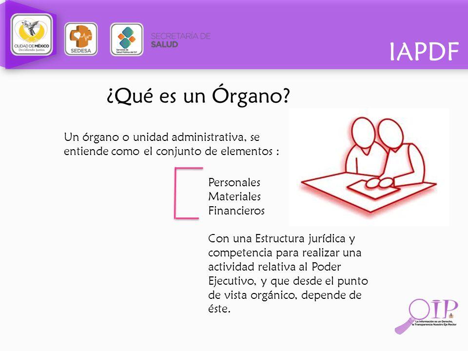 ¿Qué es un Órgano? Un órgano o unidad administrativa, se entiende como el conjunto de elementos : Personales Materiales Financieros Con una Estructura