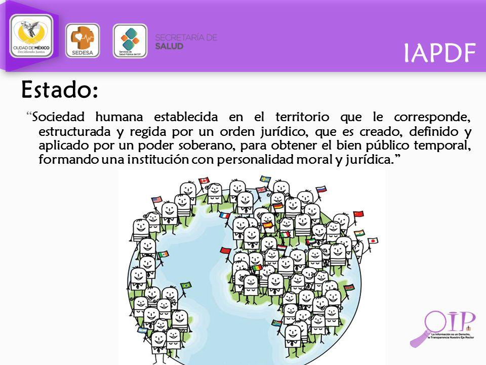 IAPDF Estado: Sociedad humana establecida en el territorio que le corresponde, estructurada y regida por un orden jurídico, que es creado, definido y