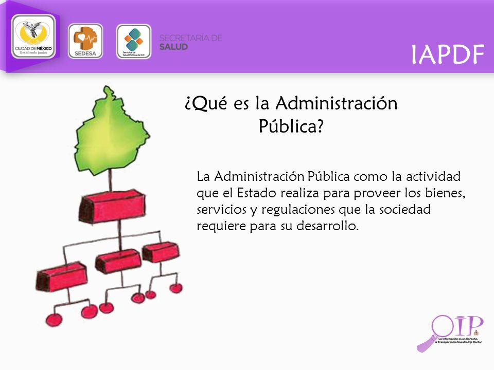 IAPDF ¿Qué es la Administración Pública? La Administración Pública como la actividad que el Estado realiza para proveer los bienes, servicios y regula