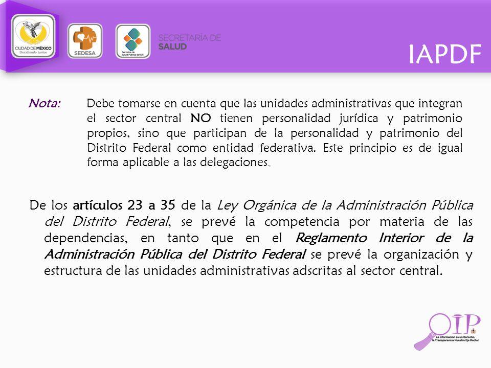 IAPDF De los artículos 23 a 35 de la Ley Orgánica de la Administración Pública del Distrito Federal, se prevé la competencia por materia de las depend