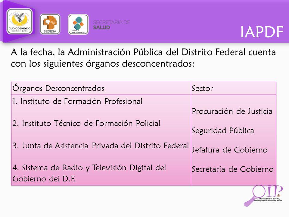 IAPDF A la fecha, la Administración Pública del Distrito Federal cuenta con los siguientes órganos desconcentrados: