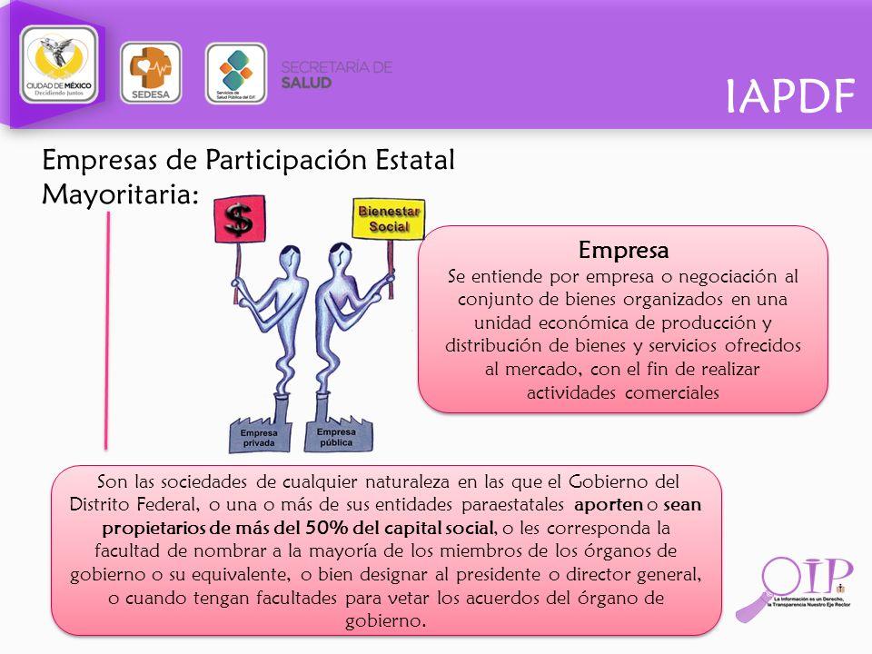 IAPDF Empresas de Participación Estatal Mayoritaria: Empresa Se entiende por empresa o negociación al conjunto de bienes organizados en una unidad eco