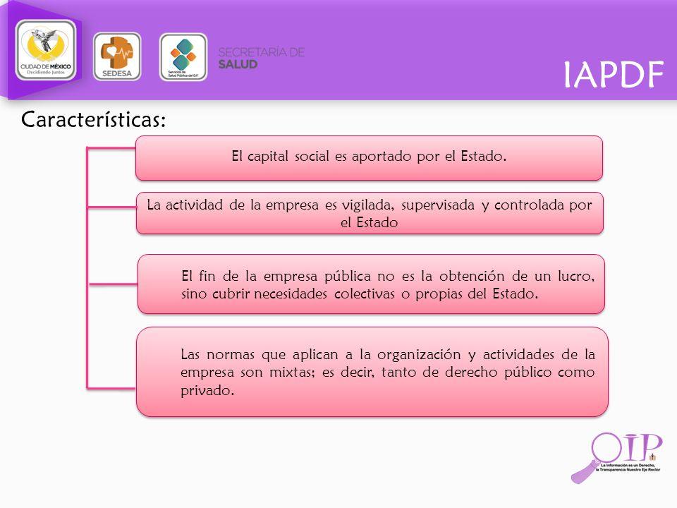 IAPDF Características: El capital social es aportado por el Estado. La actividad de la empresa es vigilada, supervisada y controlada por el Estado El