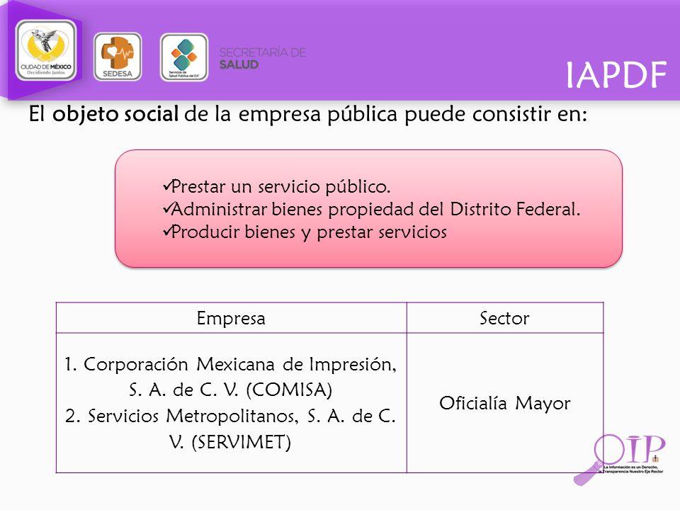 IAPDF El objeto social de la empresa pública puede consistir en: EmpresaSector 1. Corporación Mexicana de Impresión, S. A. de C. V. (COMISA) 2. Servic