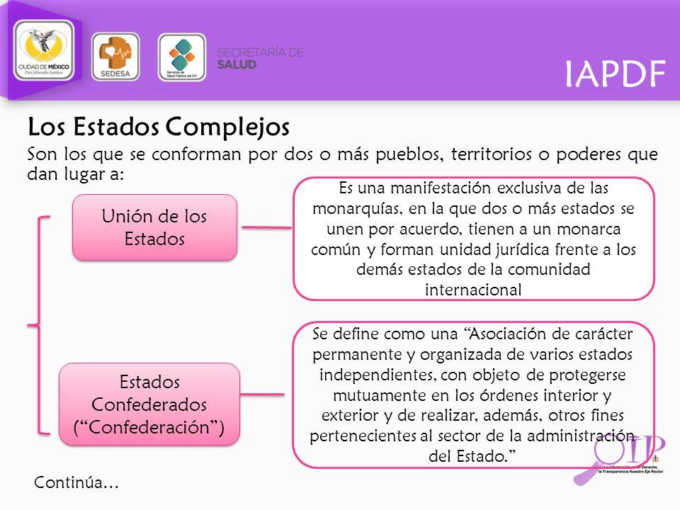 IAPDF Los Estados Complejos Son los que se conforman por dos o más pueblos, territorios o poderes que dan lugar a: Unión de los Estados Estados Confed