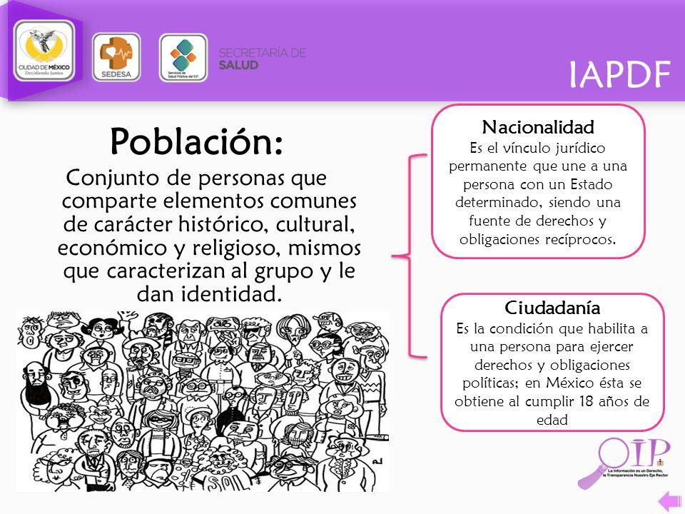IAPDF Población: Conjunto de personas que comparte elementos comunes de carácter histórico, cultural, económico y religioso, mismos que caracterizan a