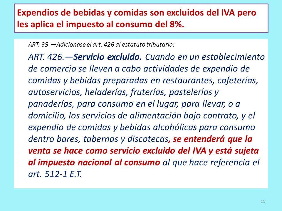 Expendios de bebidas y comidas son excluidos del IVA pero les aplica el impuesto al consumo del 8%. ART. 39.Adicionase el art. 426 al estatuto tributa