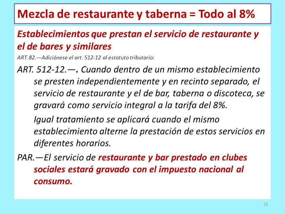 Mezcla de restaurante y taberna = Todo al 8% Establecimientos que prestan el servicio de restaurante y el de bares y similares ART. 82.Adiciónese el a