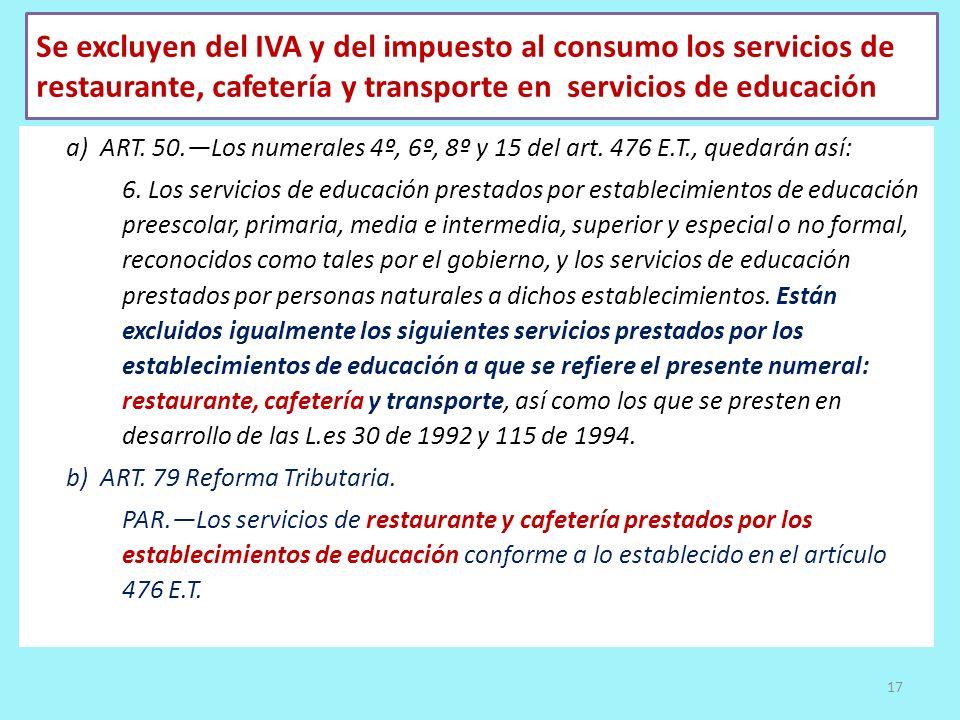 Se excluyen del IVA y del impuesto al consumo los servicios de restaurante, cafetería y transporte en servicios de educación a) ART. 50.Los numerales