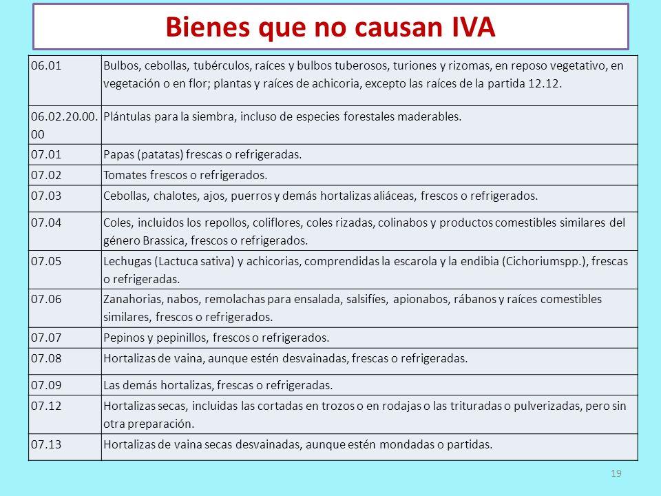 Bienes que no causan IVA 06.01 Bulbos, cebollas, tubérculos, raíces y bulbos tuberosos, turiones y rizomas, en reposo vegetativo, en vegetación o en f