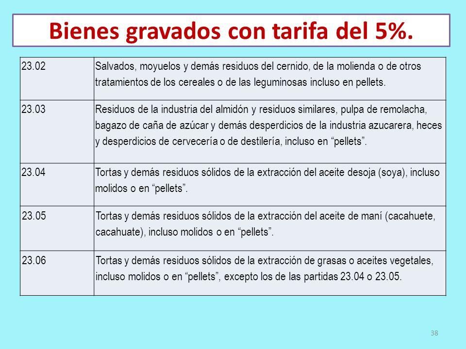 Bienes gravados con tarifa del 5%. 23.02 Salvados, moyuelos y demás residuos del cernido, de la molienda o de otros tratamientos de los cereales o de