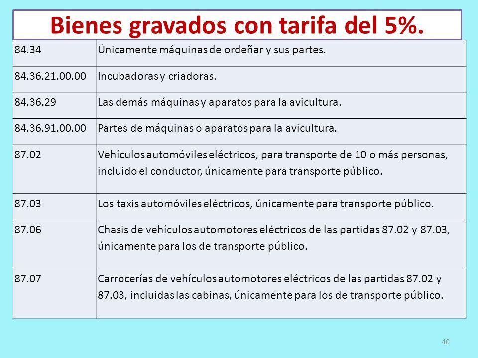 Bienes gravados con tarifa del 5%. 84.34Únicamente máquinas de ordeñar y sus partes. 84.36.21.00.00Incubadoras y criadoras. 84.36.29Las demás máquinas