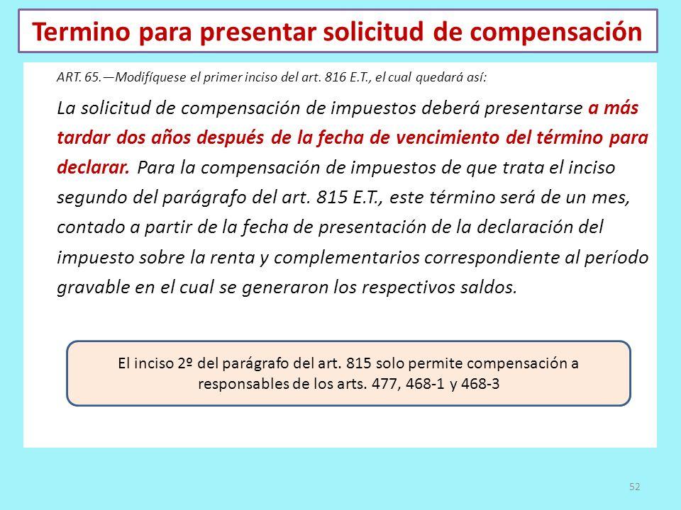 Termino para presentar solicitud de compensación ART. 65.Modifíquese el primer inciso del art. 816 E.T., el cual quedará así: La solicitud de compensa