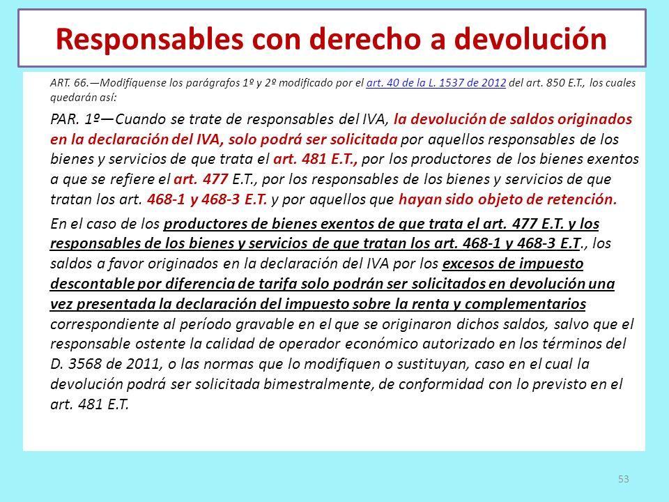 Responsables con derecho a devolución ART. 66.Modifíquense los parágrafos 1º y 2º modificado por el art. 40 de la L. 1537 de 2012 del art. 850 E.T., l
