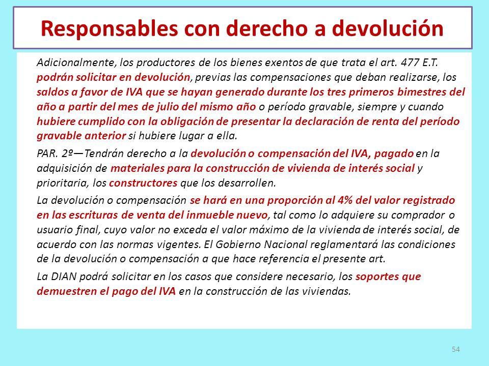 Responsables con derecho a devolución Adicionalmente, los productores de los bienes exentos de que trata el art. 477 E.T. podrán solicitar en devoluci