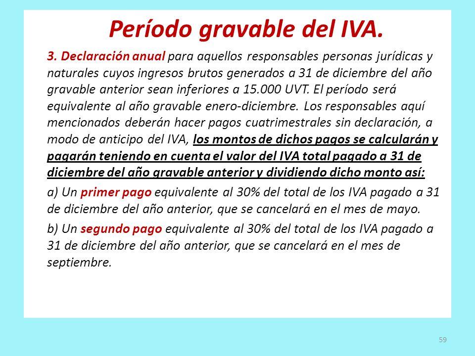 Período gravable del IVA. 3. Declaración anual para aquellos responsables personas jurídicas y naturales cuyos ingresos brutos generados a 31 de dicie