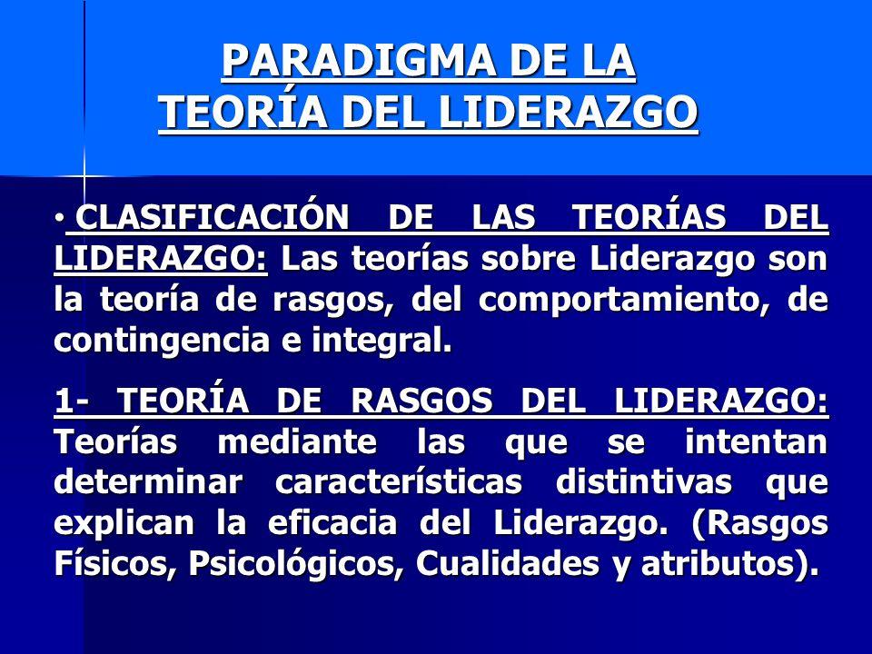 PARADIGMA DE LA TEORÍA DEL LIDERAZGO 2- TEORÍAS DEL COMPORTAMIENTO DEL LIDERAZGO: Teorías que tratan ya sea de explicar los estilos distintivos de los lideres, o bien, de definir la naturaleza de su labor.