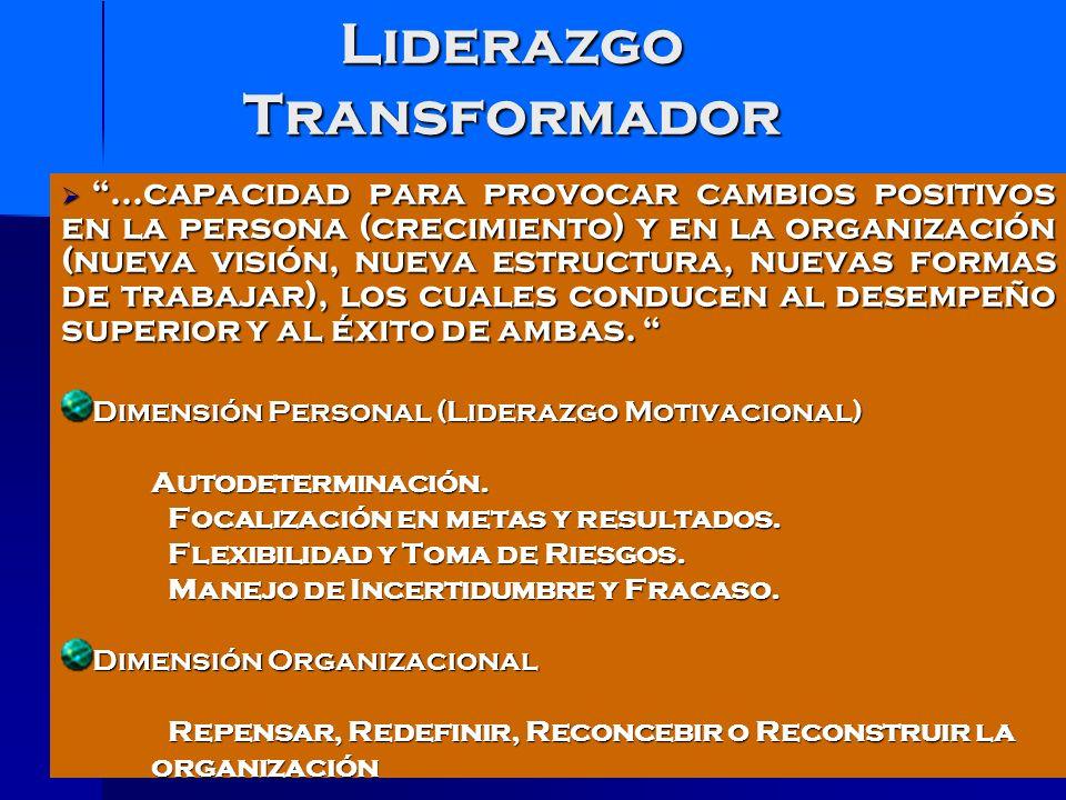 Cualidades de los Líderes transformacionales CARISMA INSPIRACIÓN ESTÍMULO INTELECTUAL CONSIDERACIÓN INDIVIDUALIZADA