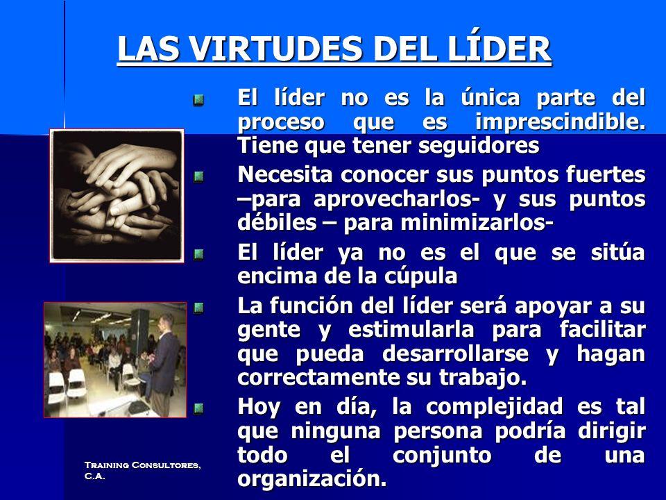 Training Consultores, C.A. LAS VIRTUDES DEL LÍDER LAS VIRTUDES DEL LÍDER El líder no es la única parte del proceso que es imprescindible. Tiene que te