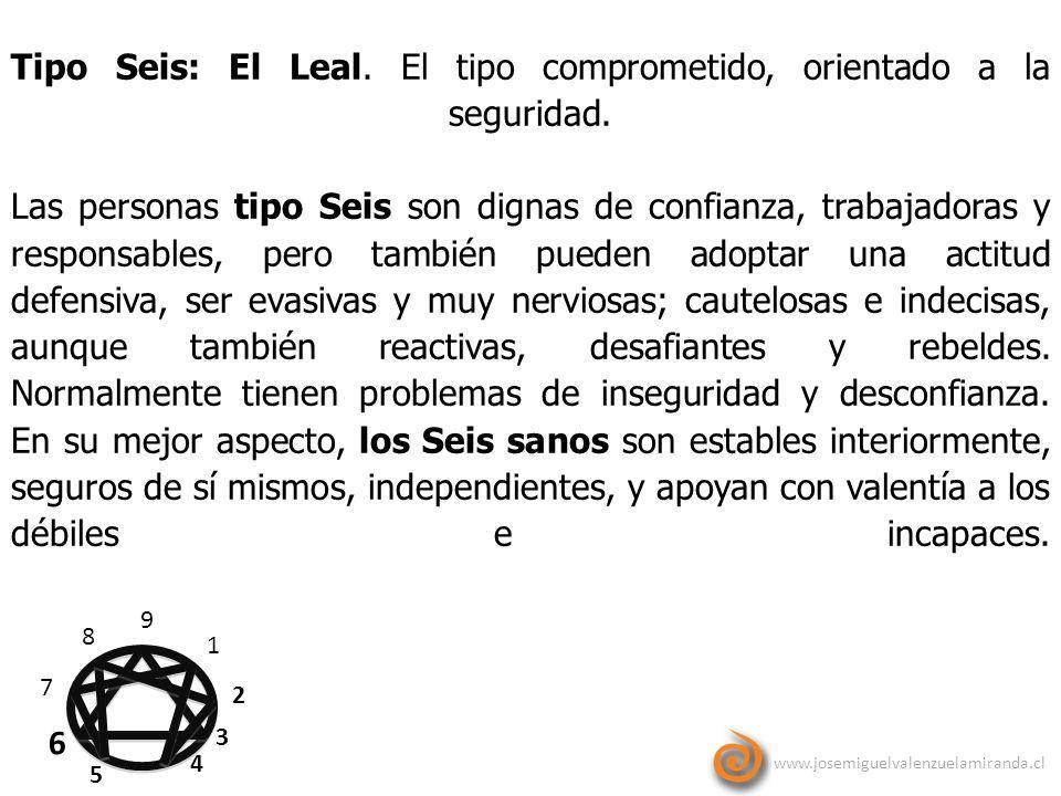 www.josemiguelvalenzuelamiranda.cl 9 1 2 3 4 5 6 7 8 Tipo Seis: El Leal. El tipo comprometido, orientado a la seguridad. Las personas tipo Seis son di