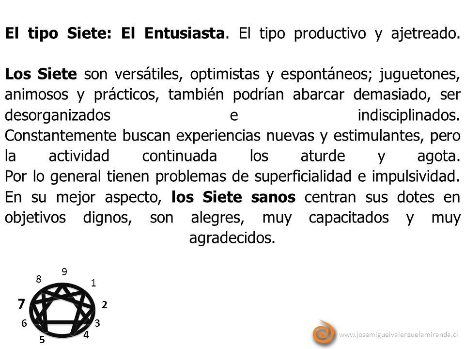 www.josemiguelvalenzuelamiranda.cl 9 1 2 3 4 5 6 7 8 El tipo Siete: El Entusiasta. El tipo productivo y ajetreado. Los Siete son versátiles, optimista
