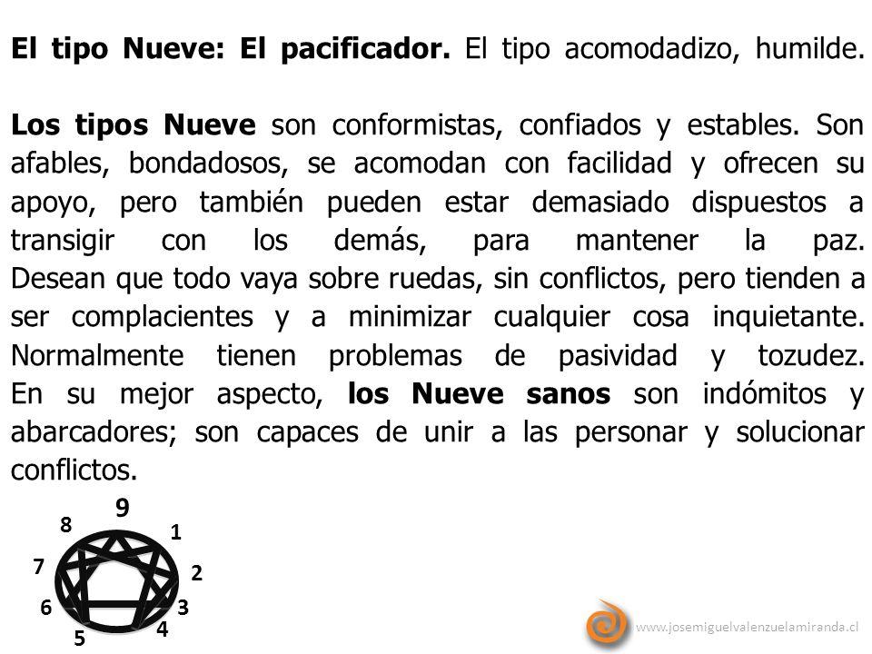 www.josemiguelvalenzuelamiranda.cl 9 1 2 3 4 5 6 7 8 El tipo Nueve: El pacificador. El tipo acomodadizo, humilde. Los tipos Nueve son conformistas, co