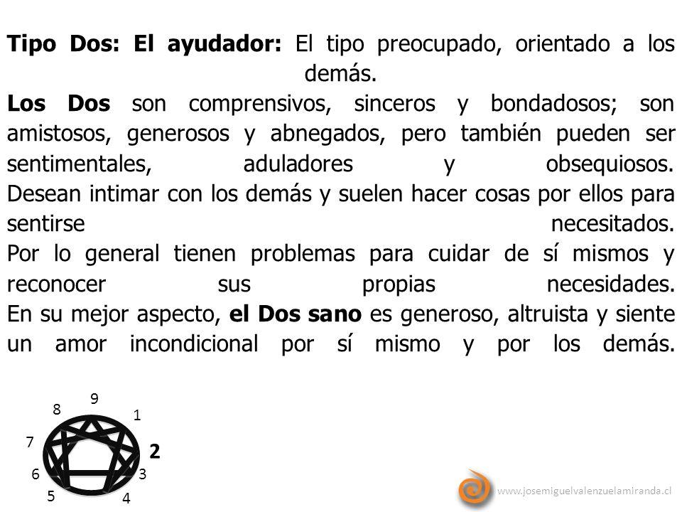 www.josemiguelvalenzuelamiranda.cl 9 1 2 3 4 5 6 7 8 Tipo Dos: El ayudador: El tipo preocupado, orientado a los demás. Los Dos son comprensivos, since