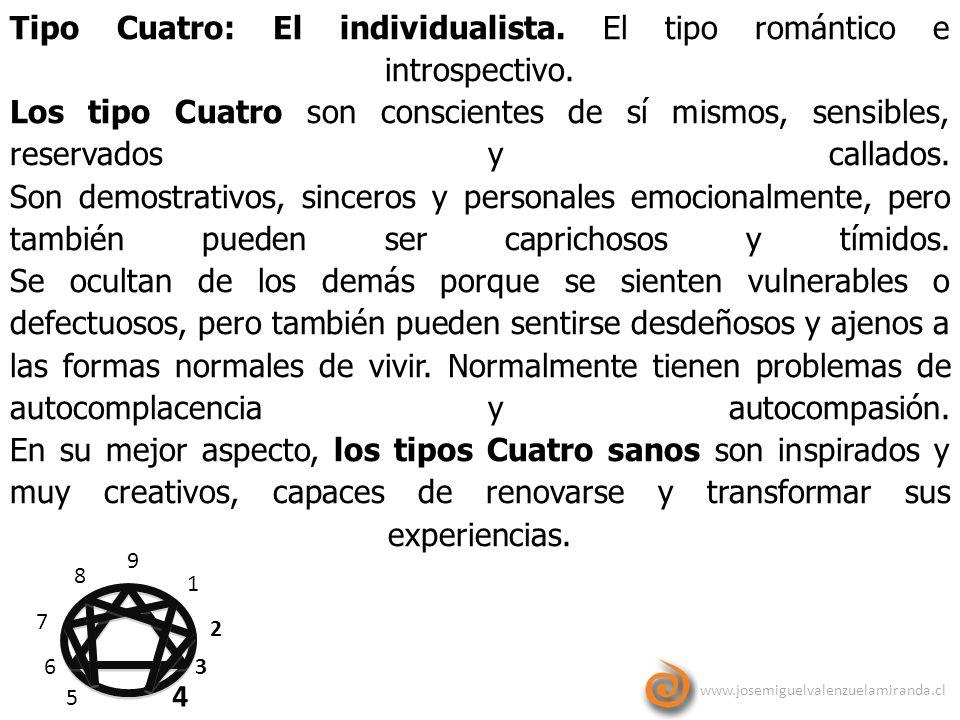 www.josemiguelvalenzuelamiranda.cl 9 1 2 3 4 5 6 7 8 Tipo Cuatro: El individualista. El tipo romántico e introspectivo. Los tipo Cuatro son consciente