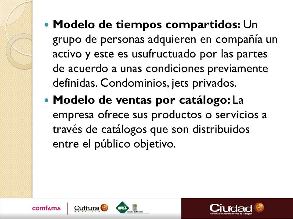 Modelo de tiempos compartidos: Un grupo de personas adquieren en compañía un activo y este es usufructuado por las partes de acuerdo a unas condicione