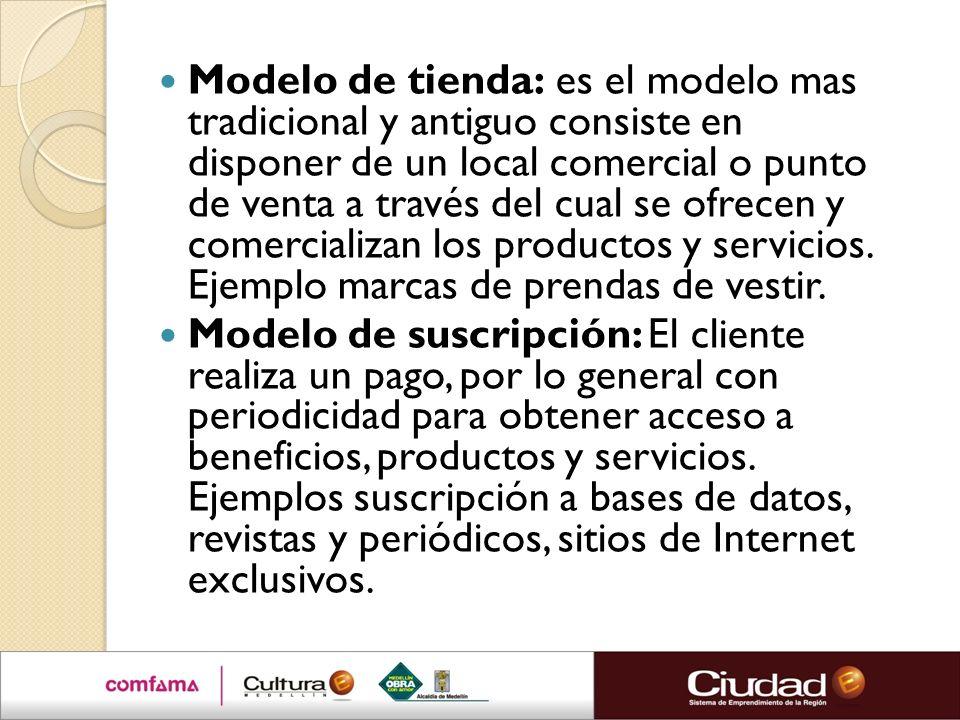 Modelo de tienda: es el modelo mas tradicional y antiguo consiste en disponer de un local comercial o punto de venta a través del cual se ofrecen y co