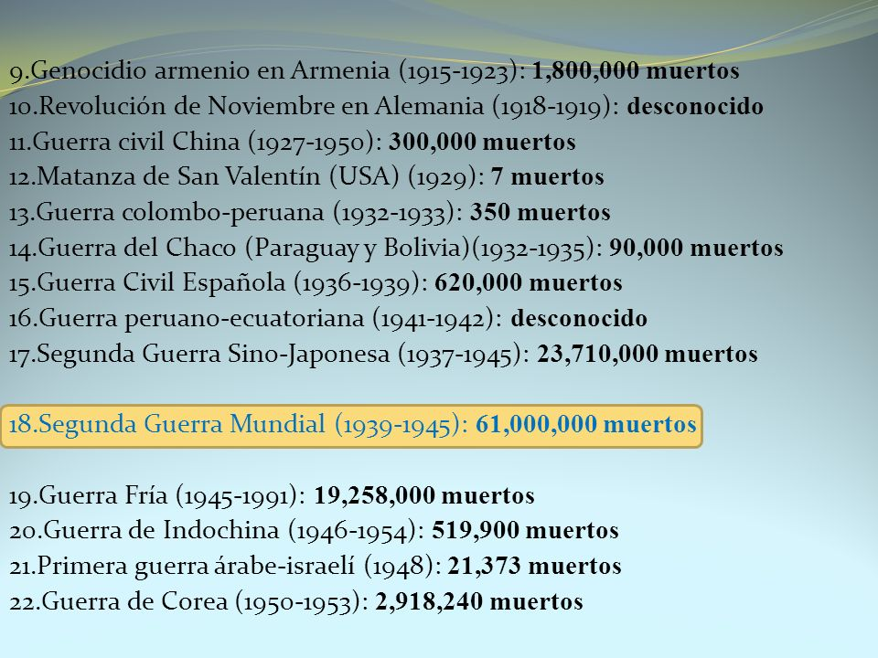 9.Genocidio armenio en Armenia (1915-1923): 1,800,000 muertos 10.Revolución de Noviembre en Alemania (1918-1919): desconocido 11.Guerra civil China (1