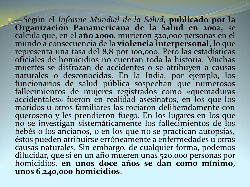 Según el Informe Mundial de la Salud, publicado por la Organización Panamericana de la Salud en 2002, se calcula que, en el año 2000, murieron 520,000