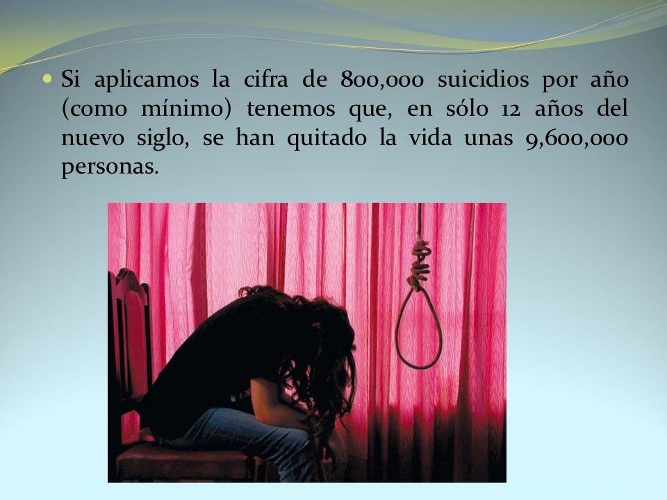 Si aplicamos la cifra de 800,000 suicidios por año (como mínimo) tenemos que, en sólo 12 años del nuevo siglo, se han quitado la vida unas 9,600,000 p