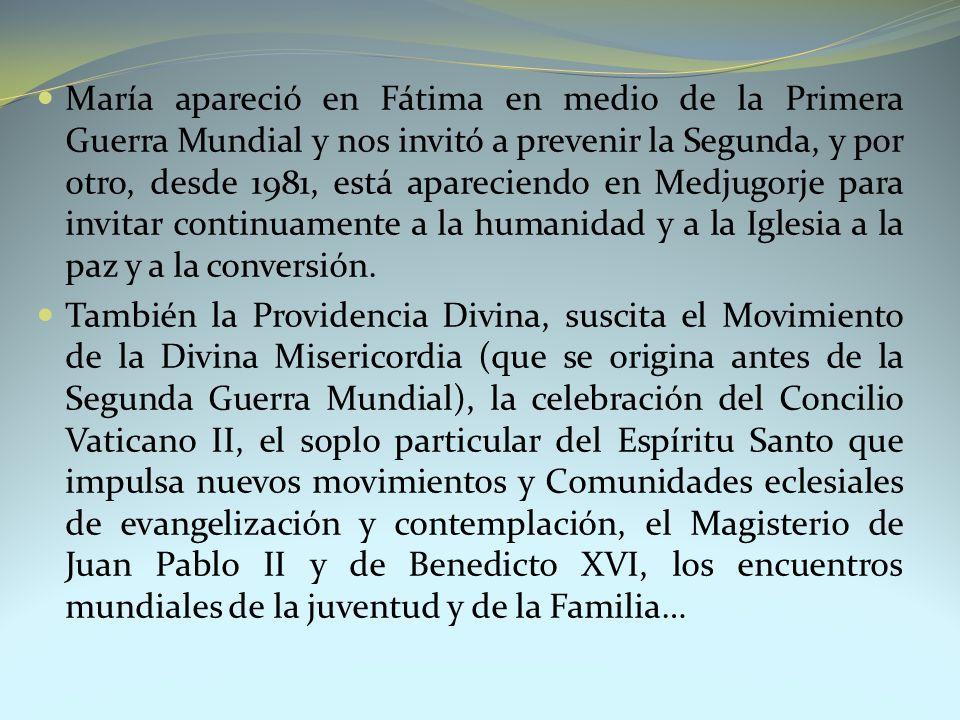 María apareció en Fátima en medio de la Primera Guerra Mundial y nos invitó a prevenir la Segunda, y por otro, desde 1981, está apareciendo en Medjugo