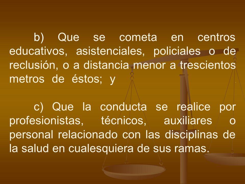 b) Que se cometa en centros educativos, asistenciales, policiales o de reclusión, o a distancia menor a trescientos metros de éstos; y. c) Que la cond