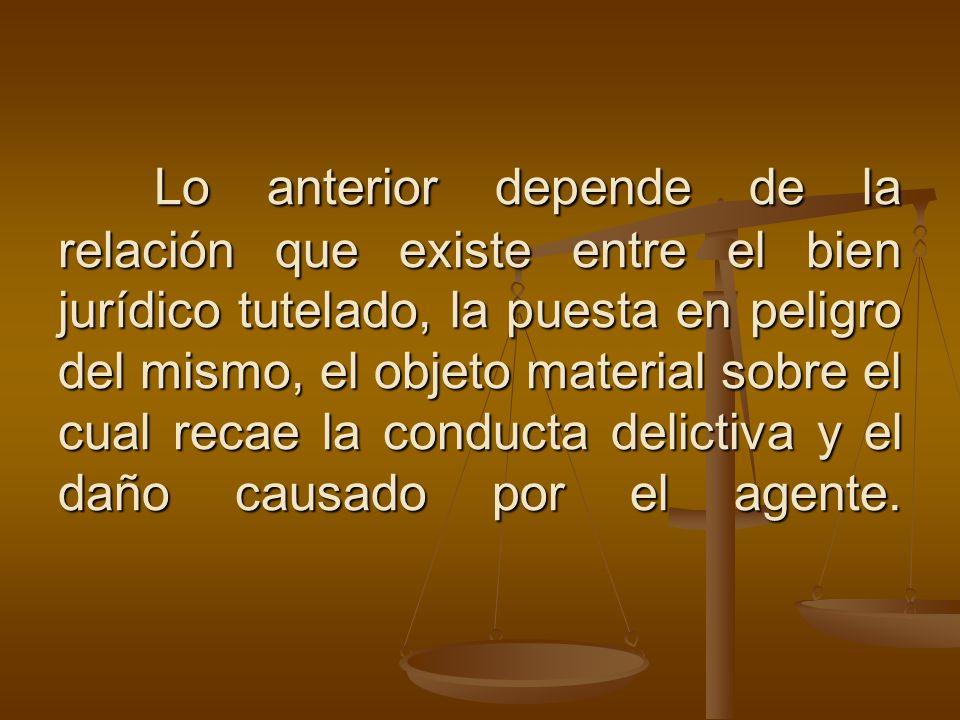 Lo anterior depende de la relación que existe entre el bien jurídico tutelado, la puesta en peligro del mismo, el objeto material sobre el cual recae
