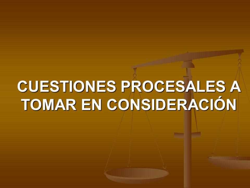 CUESTIONES PROCESALES A TOMAR EN CONSIDERACIÓN
