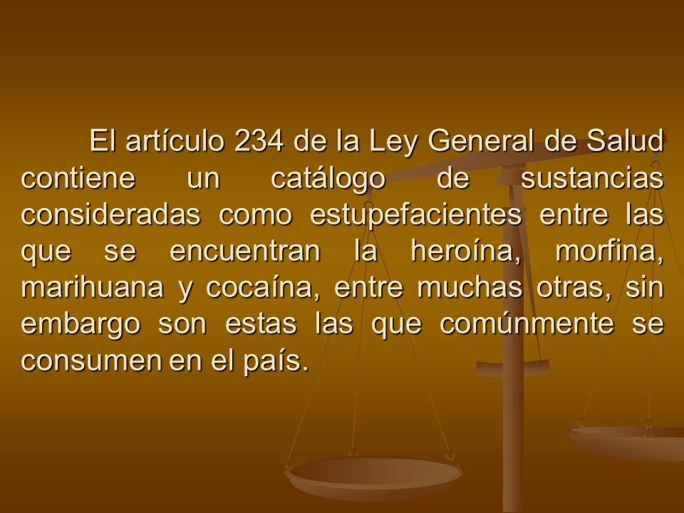 El artículo 234 de la Ley General de Salud contiene un catálogo de sustancias consideradas como estupefacientes entre las que se encuentran la heroína