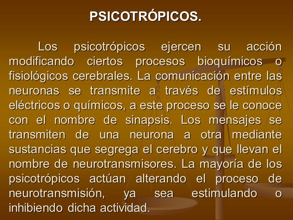 PSICOTRÓPICOS. Los psicotrópicos ejercen su acción modificando ciertos procesos bioquímicos o fisiológicos cerebrales. La comunicación entre las neuro