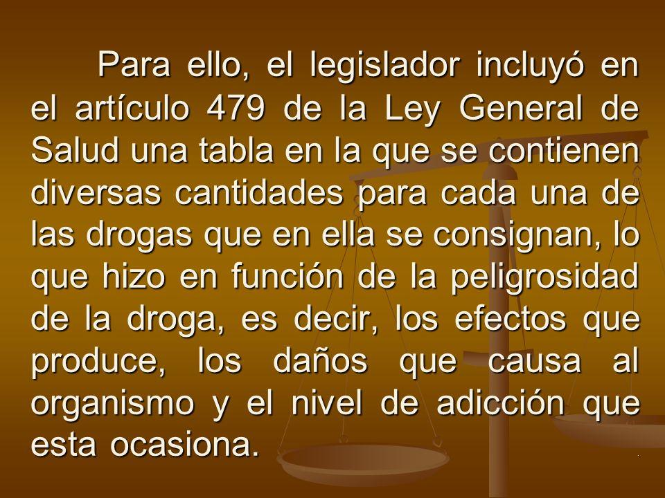 Para ello, el legislador incluyó en el artículo 479 de la Ley General de Salud una tabla en la que se contienen diversas cantidades para cada una de l