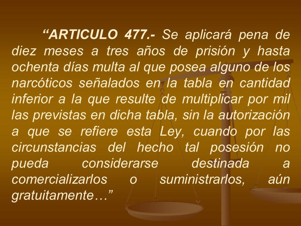 ARTICULO 477.- Se aplicará pena de diez meses a tres años de prisión y hasta ochenta días multa al que posea alguno de los narcóticos señalados en la