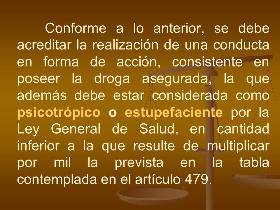 Conforme a lo anterior, se debe acreditar la realización de una conducta en forma de acción, consistente en poseer la droga asegurada, la que además d
