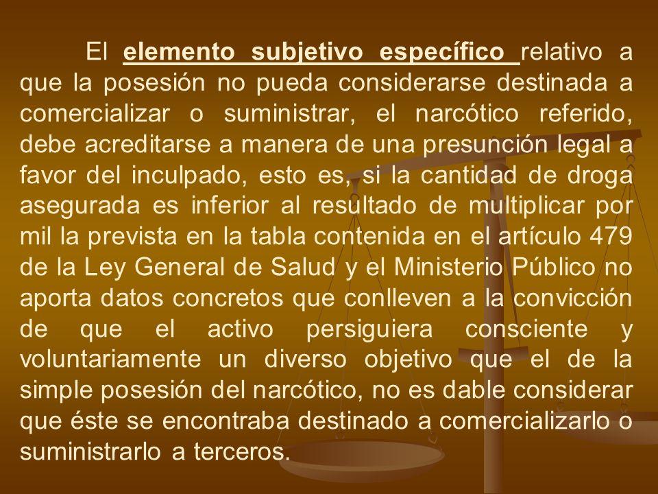 El elemento subjetivo específico relativo a que la posesión no pueda considerarse destinada a comercializar o suministrar, el narcótico referido, debe