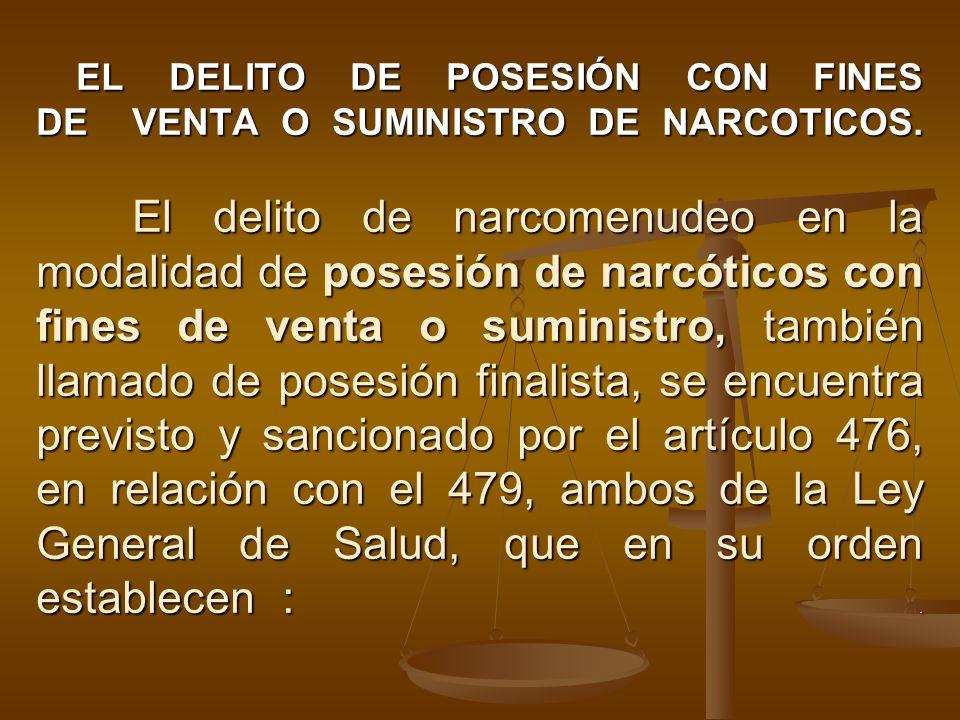 EL DELITO DE POSESIÓN CON FINES DE VENTA O SUMINISTRO DE NARCOTICOS. El delito de narcomenudeo en la modalidad de posesión de narcóticos con fines de