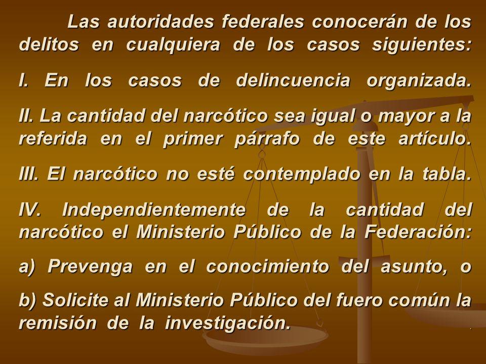 Las autoridades federales conocerán de los delitos en cualquiera de los casos siguientes: I. En los casos de delincuencia organizada. II. La cantidad