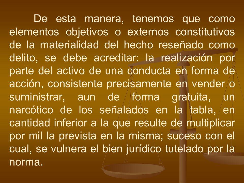 De esta manera, tenemos que como elementos objetivos o externos constitutivos de la materialidad del hecho reseñado como delito, se debe acreditar: la