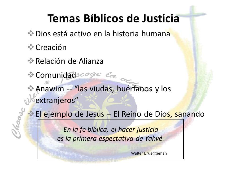 Temas Bíblicos de Justicia Dios está activo en la historia humana Creación Relación de Alianza Comunidad Anawim -- las viudas, huérfanos y los extranj
