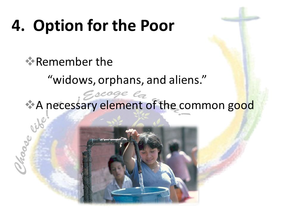 4. Option for the Poor Remember the widows, orphans, and aliens.